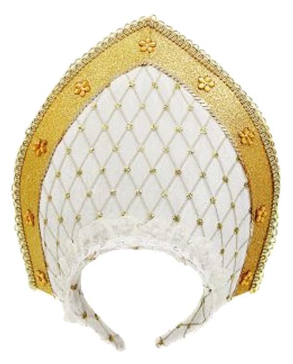 Аксессуар для карнавала Новогодняя сказка Кокошник 23х30 см, белый