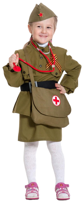 Карнавальный костюм Карнавалофф Военный, цв. хаки р.104