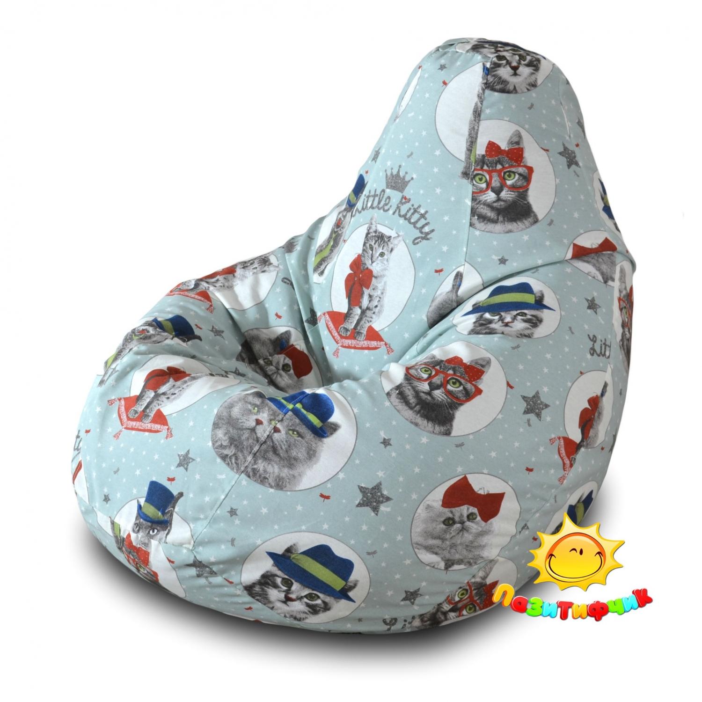 Кресло-мешок Pazitif Груша Пазитифчик Литл Китти 03, размер XL, жаккард, разноцветный фото