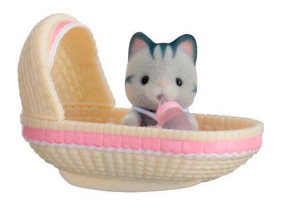 Купить Игровой набор sylvanian families младенец в пластиковом сундучке (котенок в люльке), Игровые наборы