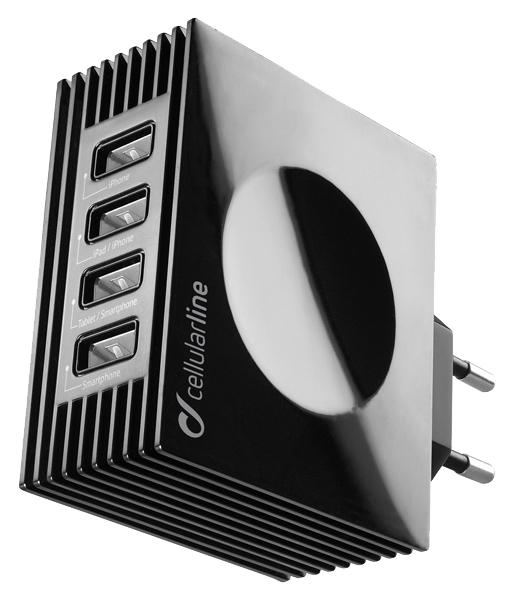 Сетевое зарядное устройство Cellular Line 4 USB 4,2A Black ACHUSBQUAD4AK