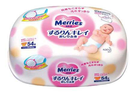Детские влажные салфетки Merries контейнер 54 шт.