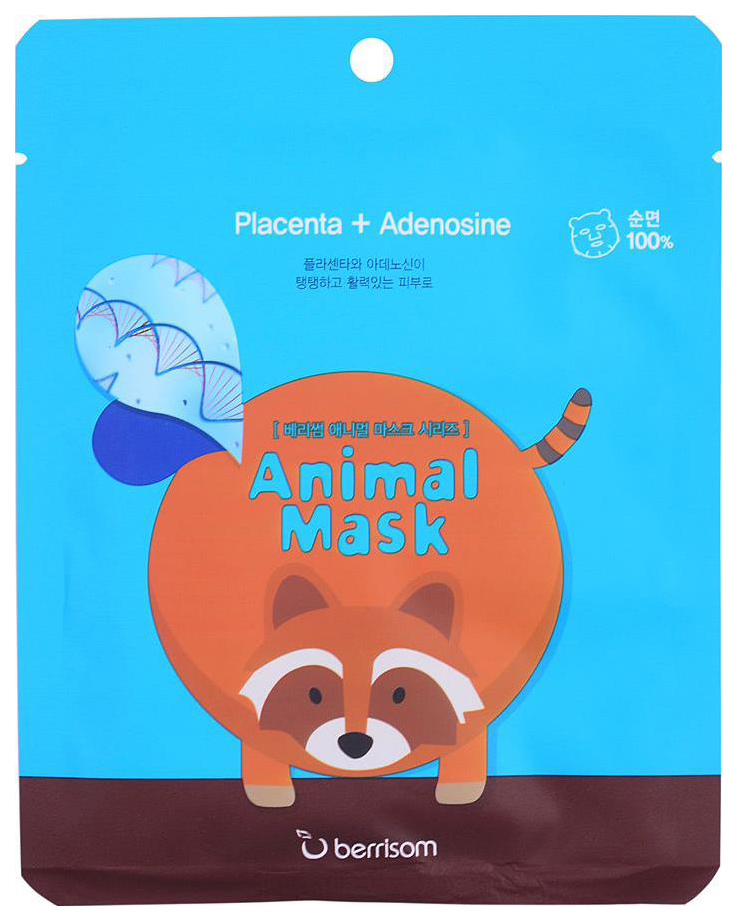 Маска для лица berrisom Animal Mask Placenta+Adenosine - Racoon 25 мл фото