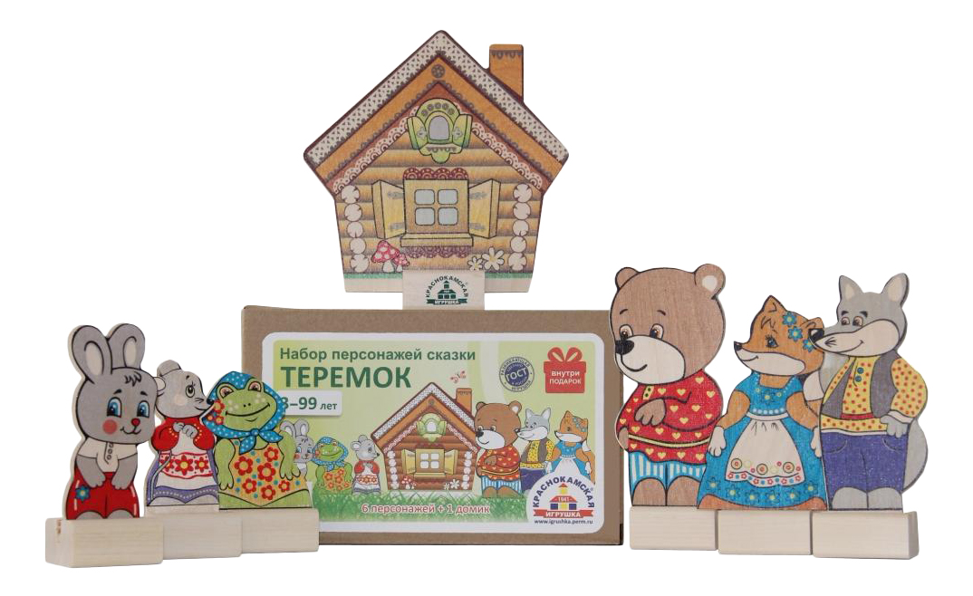 Купить Деревянная игрушка для малышей КРАСНОКАМСКАЯ ИГРУШКА Персонажи сказки Теремок, Краснокамская Игрушка,