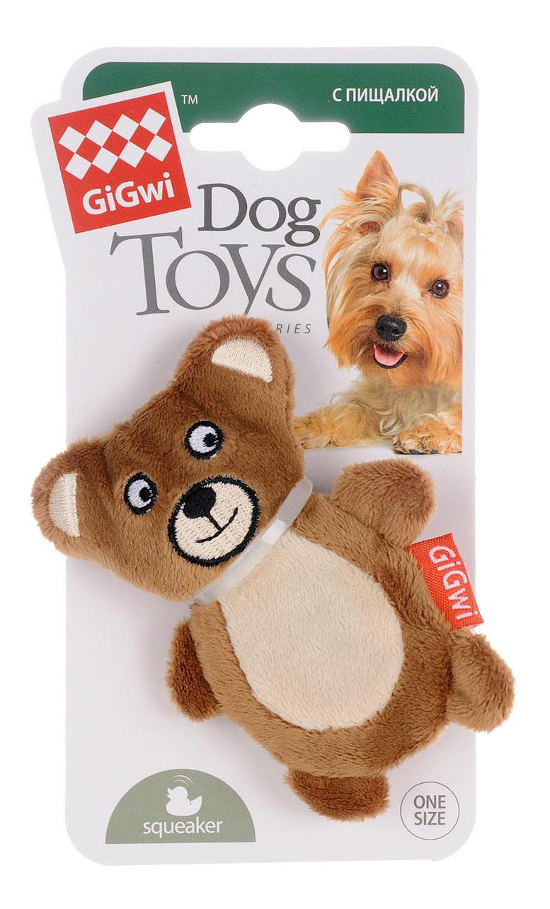 Мягкая игрушка для собак GiGwi Мишка с пищалкой, длина 10 см фото