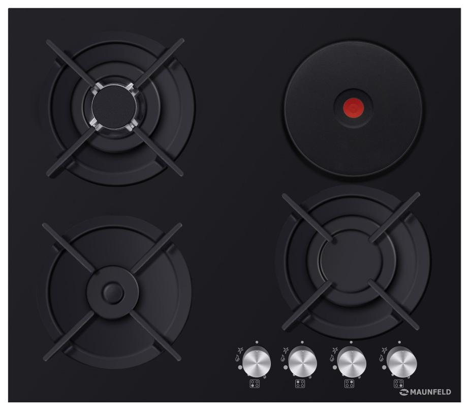 Встраиваемая варочная панель комбинированная MAUNFELD EEHG.64.13CB.KG Black
