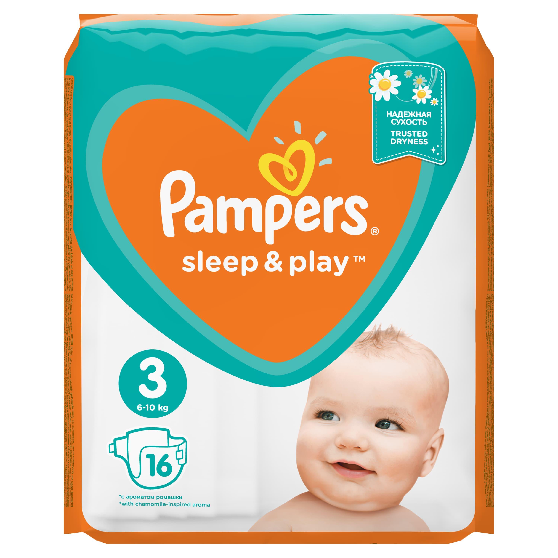 Купить PAMPERS Подгузники Sleep & Play Midi (6-10 кг) Стандартная Упаковка 16, Подгузники Pampers Sleep & Play Midi (6-10 кг) Стандартная 16 шт.
