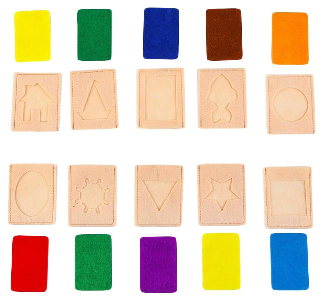 Развивающий набор карточек Формы и цвета из фетра, 10 штук. Школа талантов