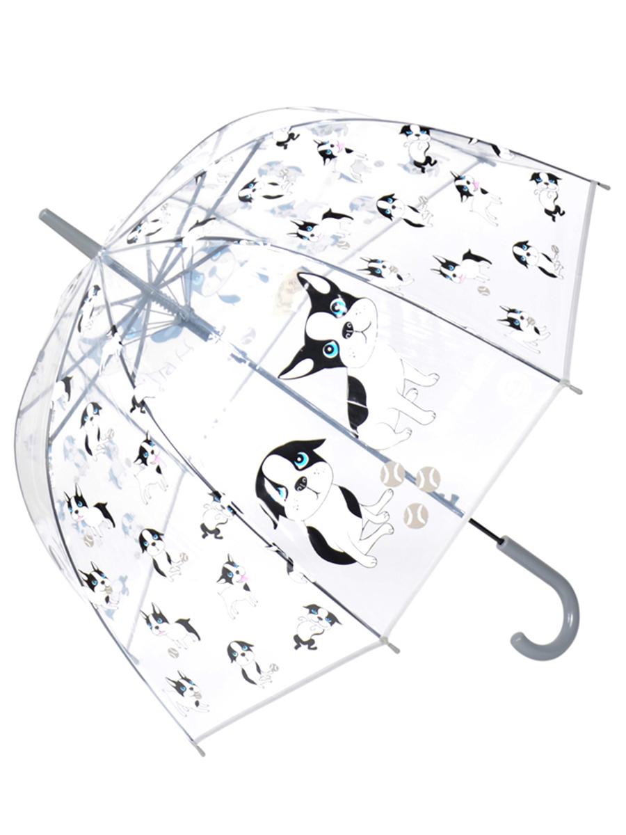 Зонт трость МихиМихи Puppies прозрачный купол, серый