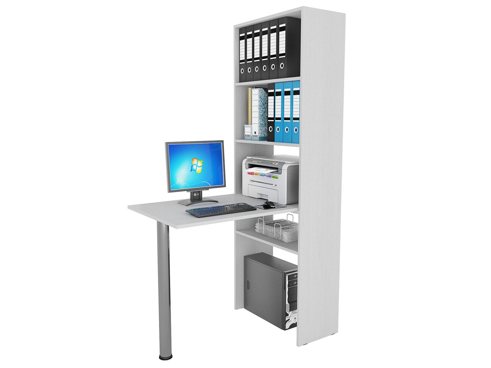 Компьютерный стол в комплекте МФ Мастер Рикс-4+Рикс-6 110x63,2x177, белый/хром