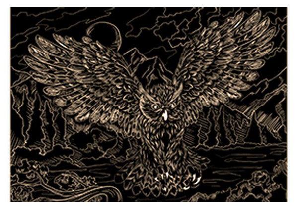 Гравюра Рыжий кот А4 с эффектом золота Красивая сова