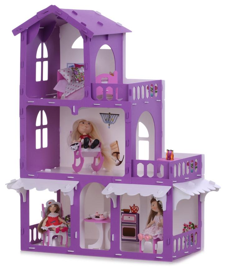 Домик для кукол KRASATOYS Дом Николь бело-сиреневый с мебелью