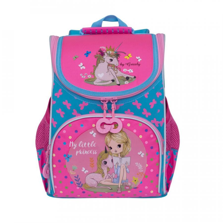 Школьный Рюкзак для девочки Grizzly Ra-973-2 Голубой - Жимолость
