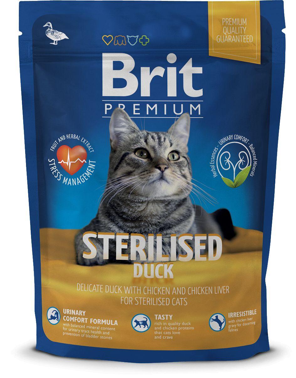Сухой корм Brit Premium Cat Sterilised для стерилизованных кошек 300 г, Утка и печень