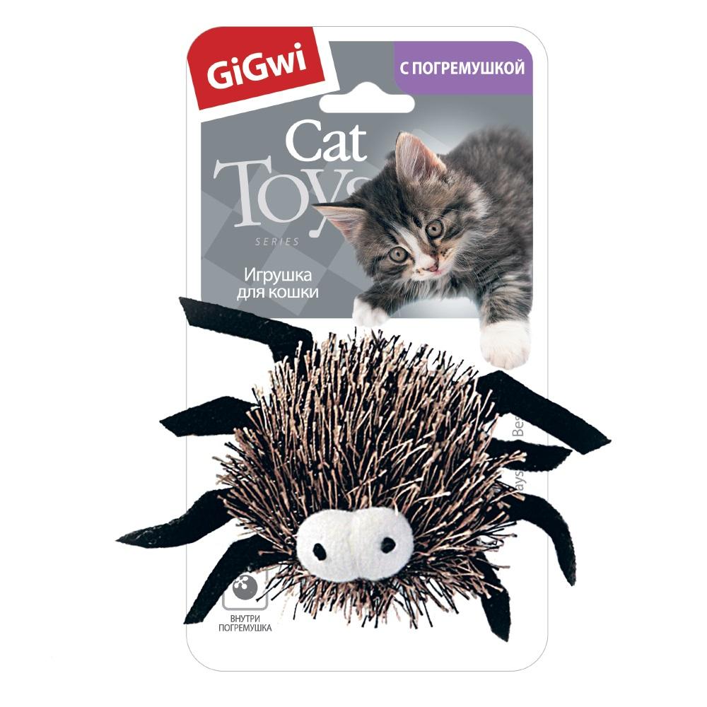 Мягкая игрушка для собак GiGwi Паучок, серый, длина 6 см