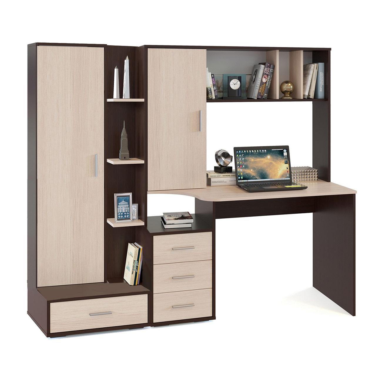 Компьютерный стол в комплекте СОКОЛ КСТ-16+СТ-9 180x60x160, венге/беленый дуб