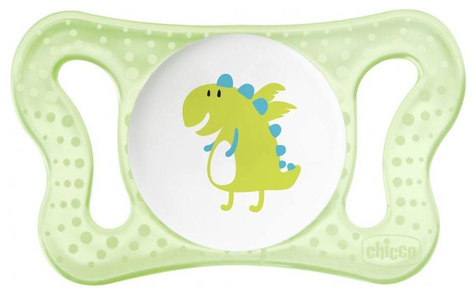 Пустышка силиконовая Chicco Micro Physio для принца 0-6 мес Динозавр/Нейтральная, 2 шт