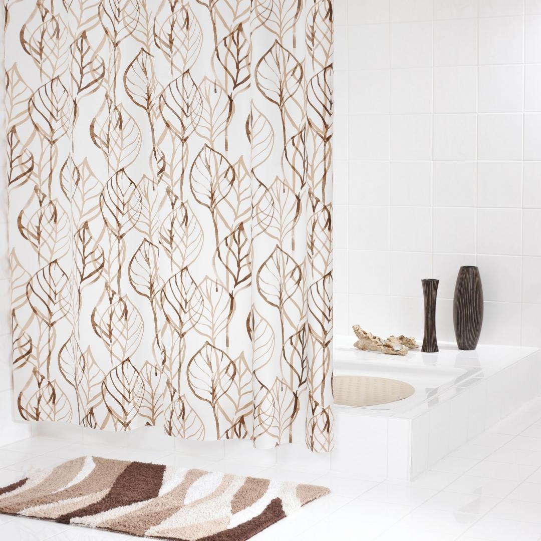 Штора для ванных комнат Leaves бежевый/коричневый 180*200