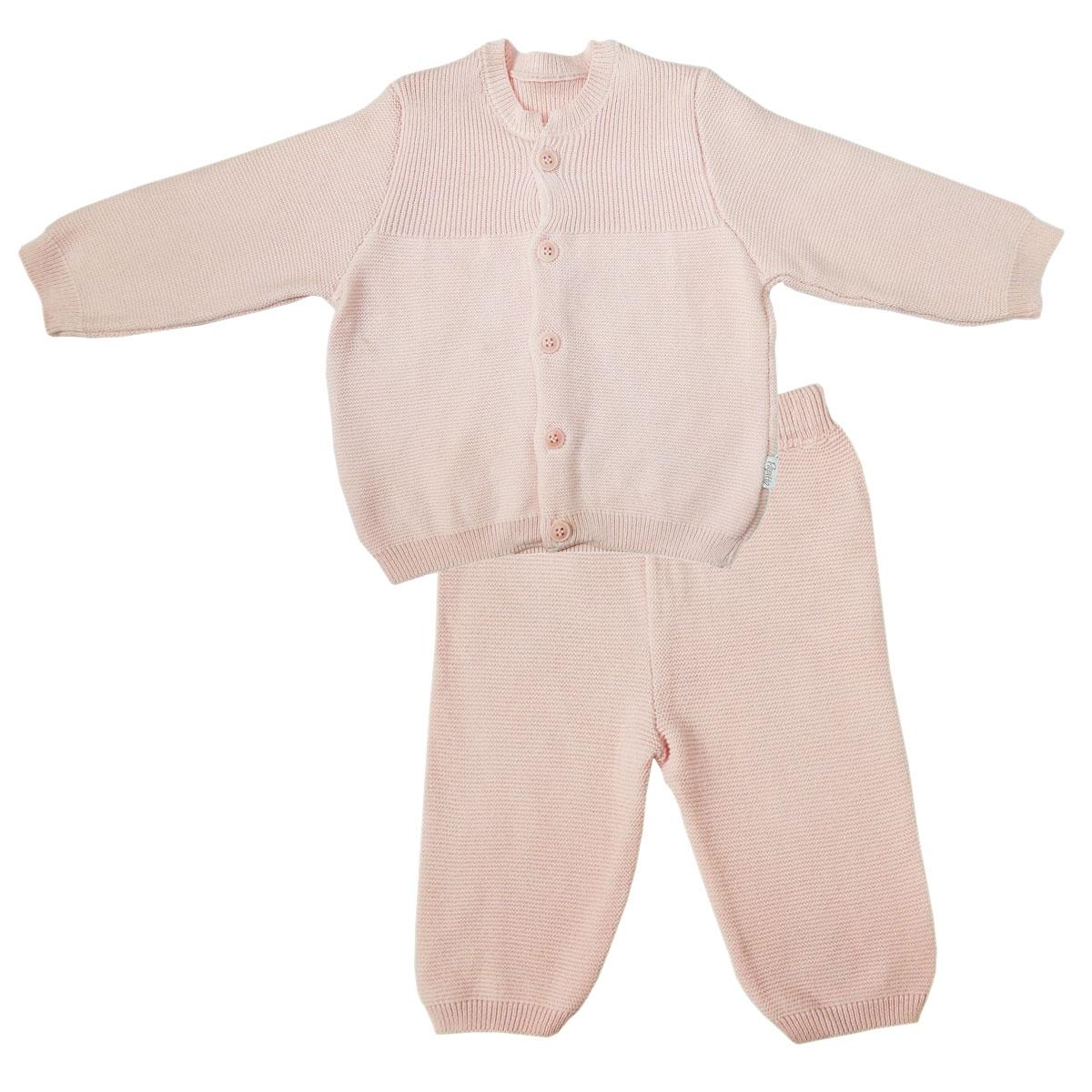 Купить Комплект Папитто вязаный: кофточка и штанишки с принтом Розовый 73-7004 р.22-74, Комплекты для новорожденных