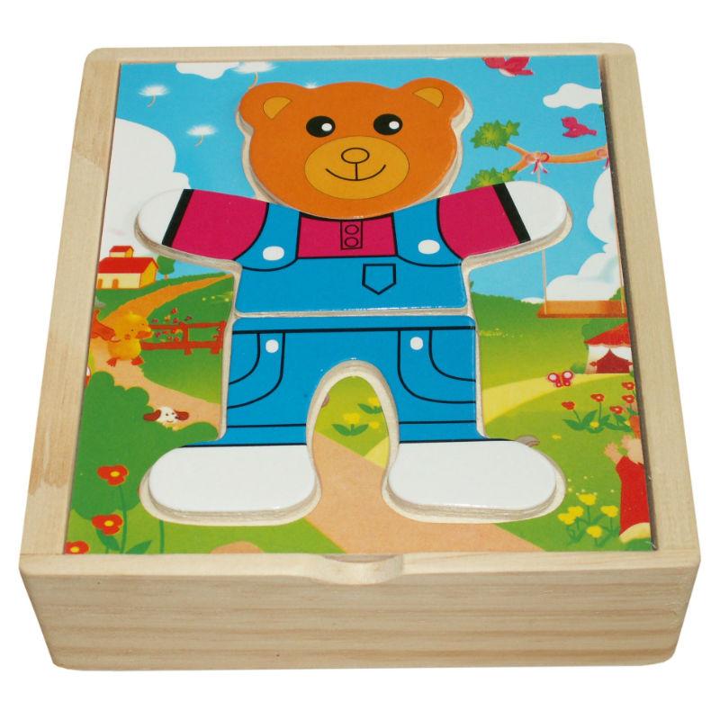 Купить Пазл QiQu Wooden Toys Factory Медвежонок Миша, Пазлы