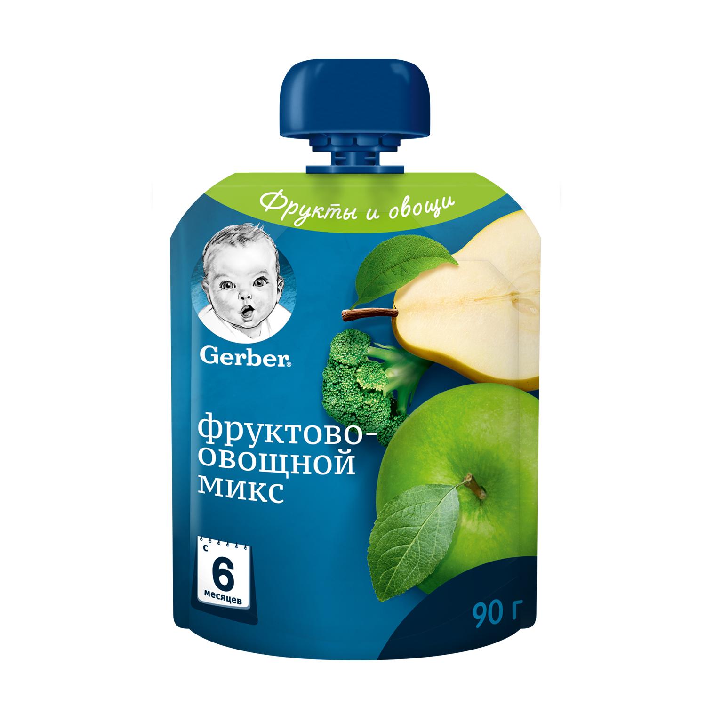 Купить Пюре фруктовое Gerber Фруктово-овощной микс с 6 мес. 90 г,