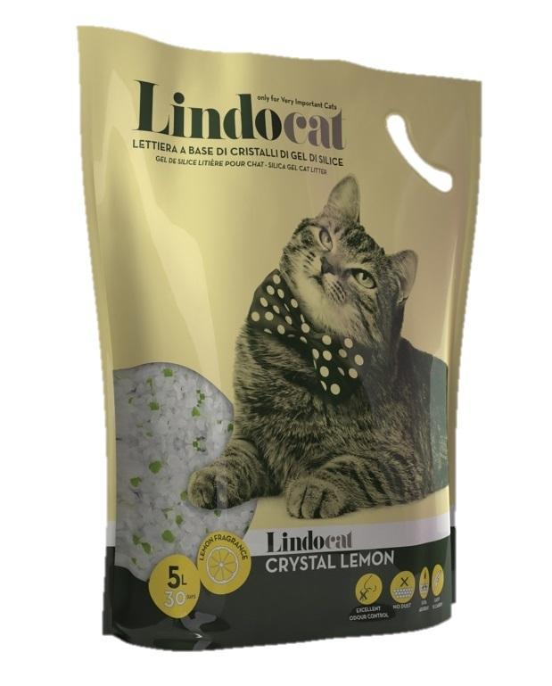 Наполнитель для кошачьего туалета Lindocat Crystal Lemon, впитывающий силикагель, 5л