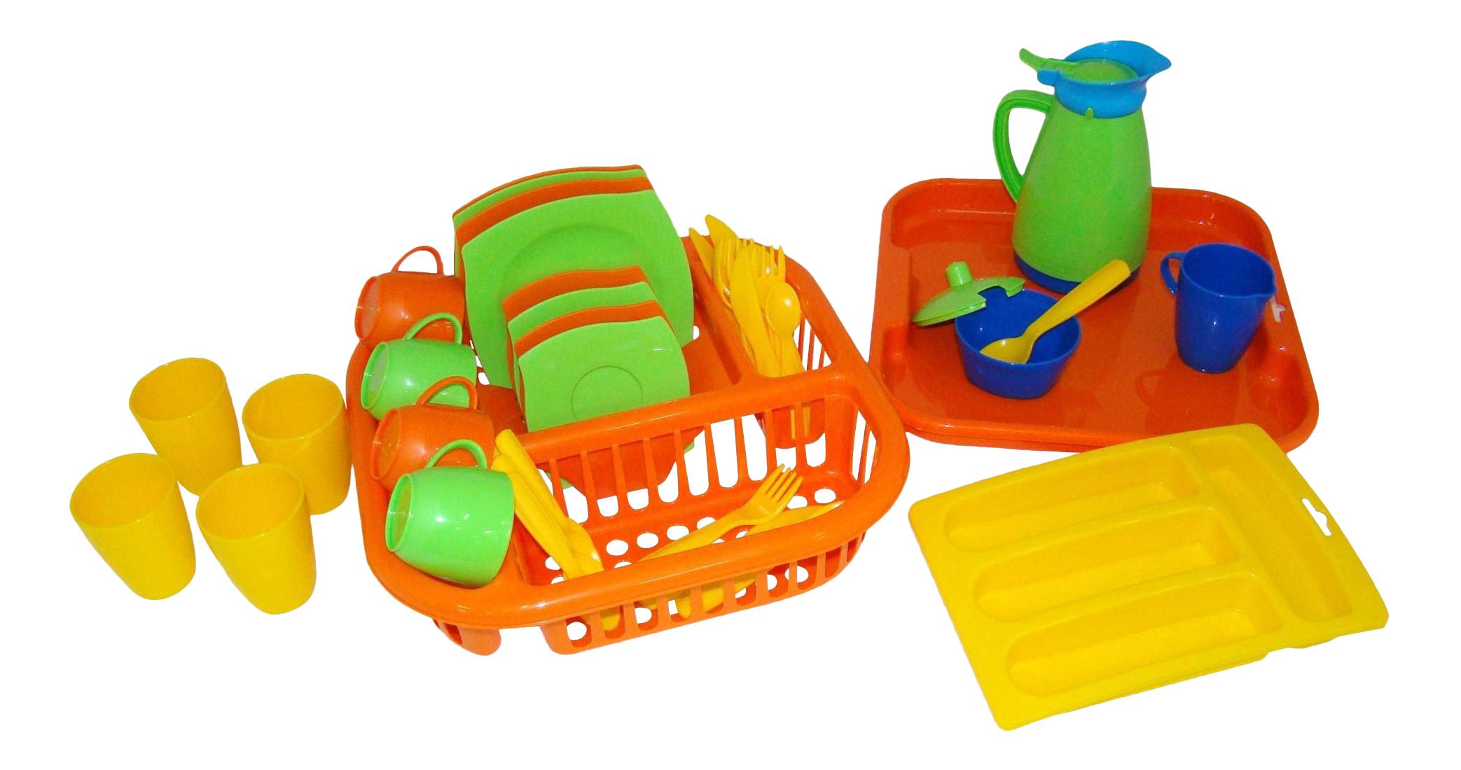Набор посуды игрушечный Полесье Алиса с сушилкой,подносом
