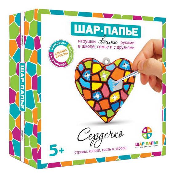 Купить Сердце в коробке со стразами, Игровой набор ШАР-ПАПЬЕ Сердце в коробке со стразами, Рукоделие