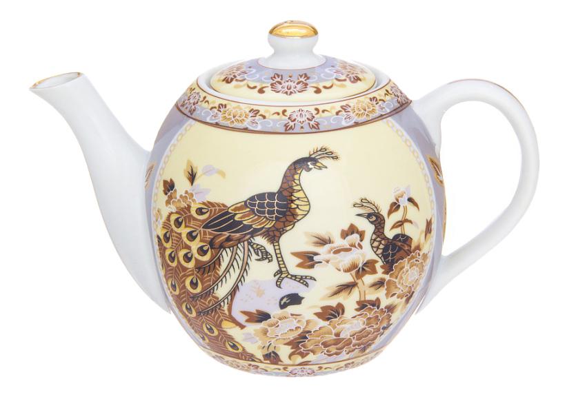 Заварочный чайник Elan Gallery Павлин на бежевом