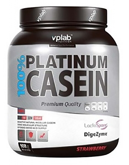 Протеин VPLab 100% Platinum Casein 908 г Strawberry фото