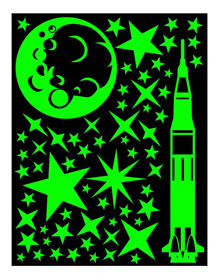 Купить Наклейка декоративная для детской комнаты Планета Полет на луну, Planeta Organica, Аксессуары для детской комнаты