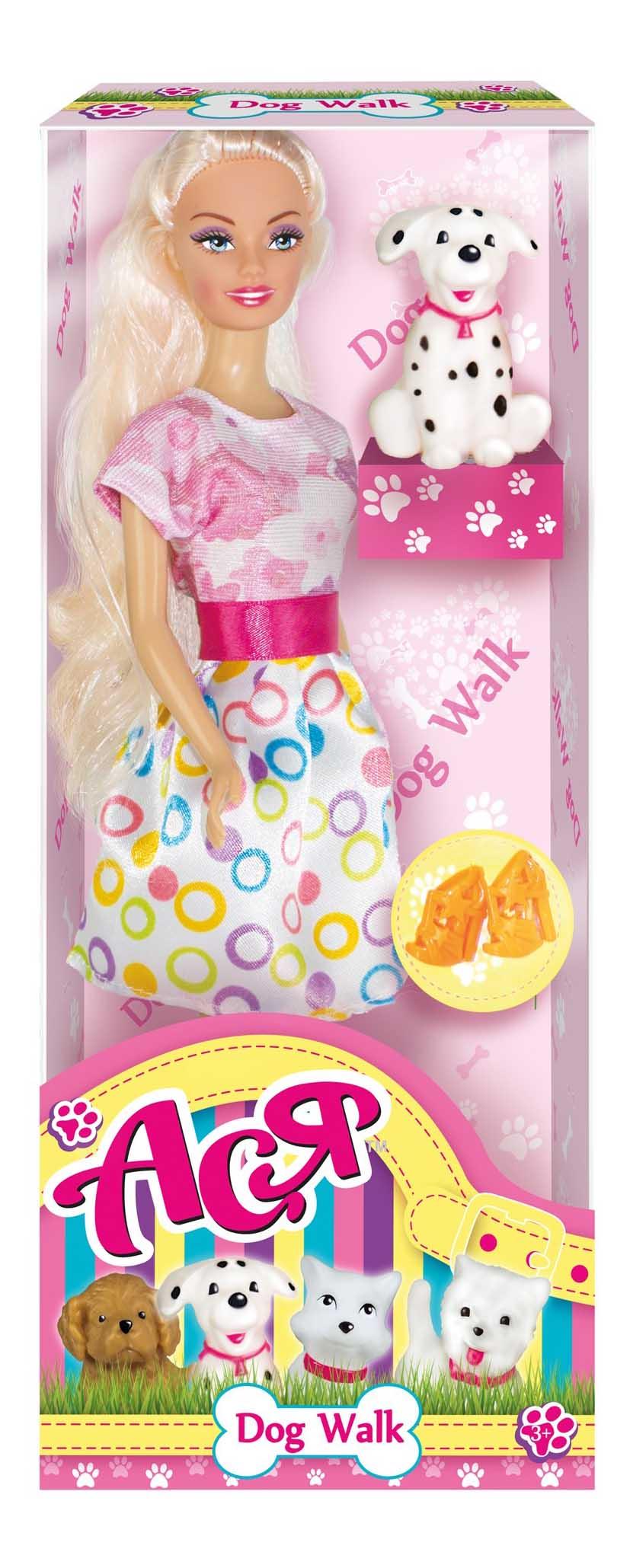 Кукла Ася Блондинка в розово-белом платье Прогулка с щенком