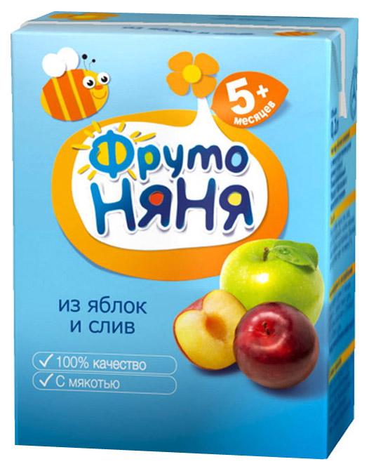 Купить Яблоко и слива с мякотью 200 мл, Нектар ФрутоНяня Яблоко и слива с мякотью с 5 мес 200 мл, Детские напитки