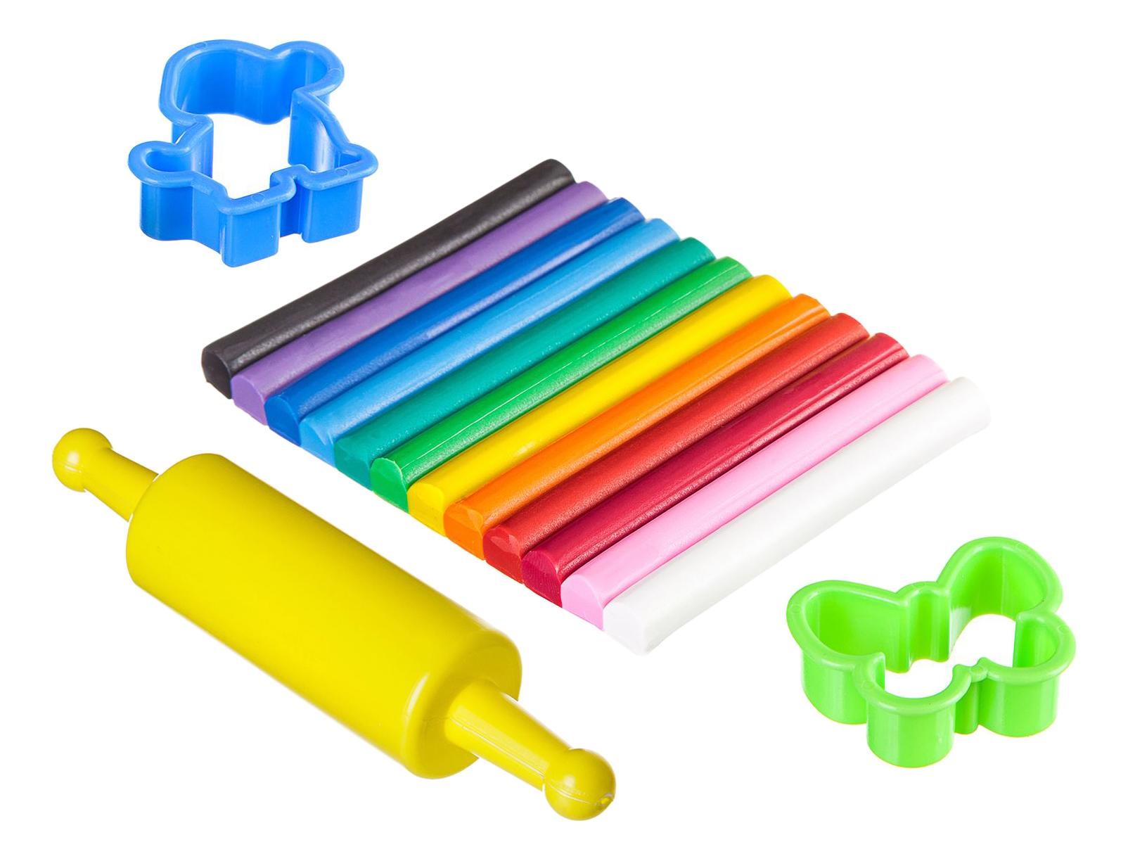 Набор для лепки мягкий пластилин с формочками и скалкой 12 цветов Bondibon ВВ1808
