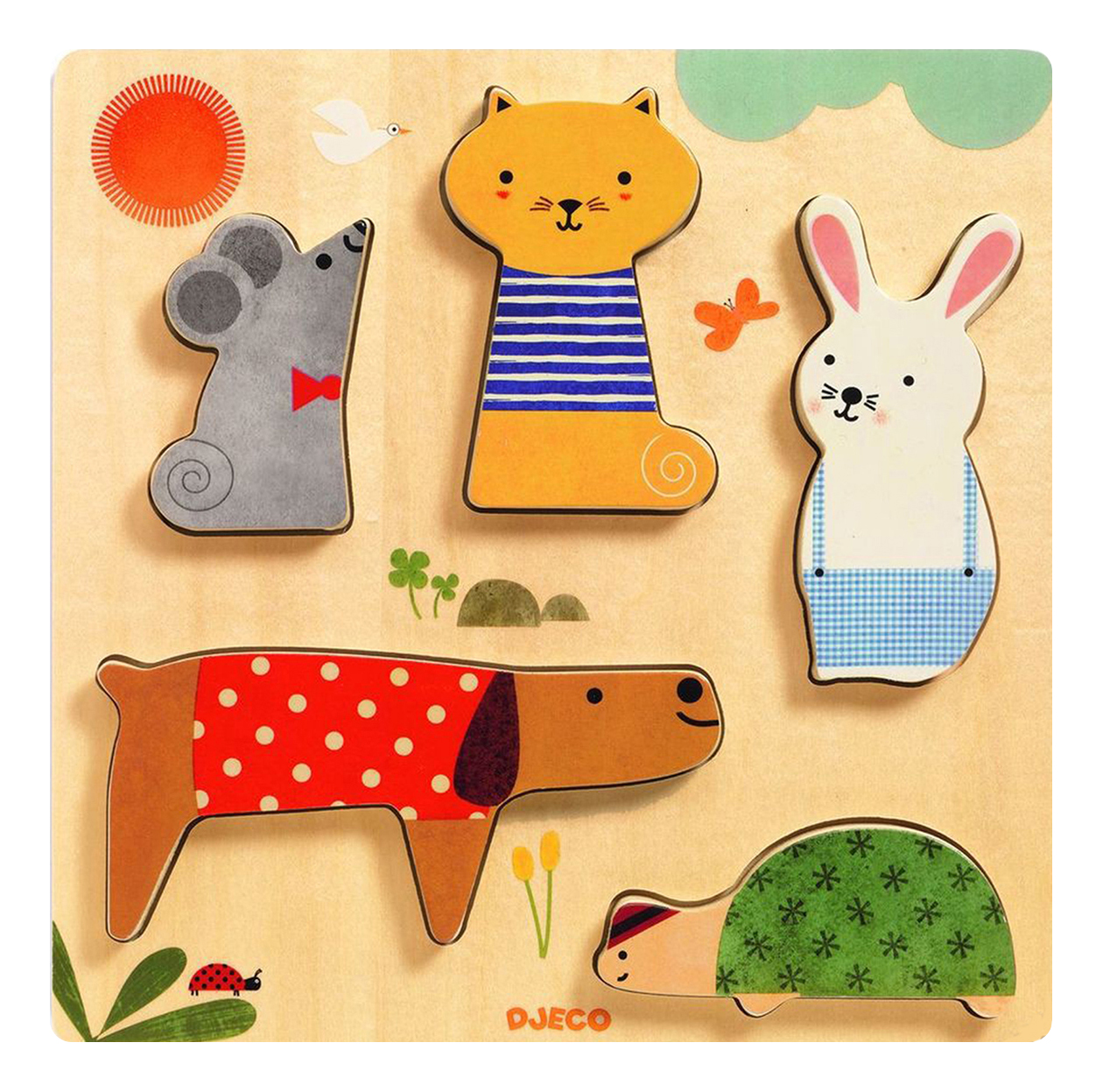 Купить Деревянная игрушка для малышей Djeco Домашние питомцы 01051, Развивающие игрушки