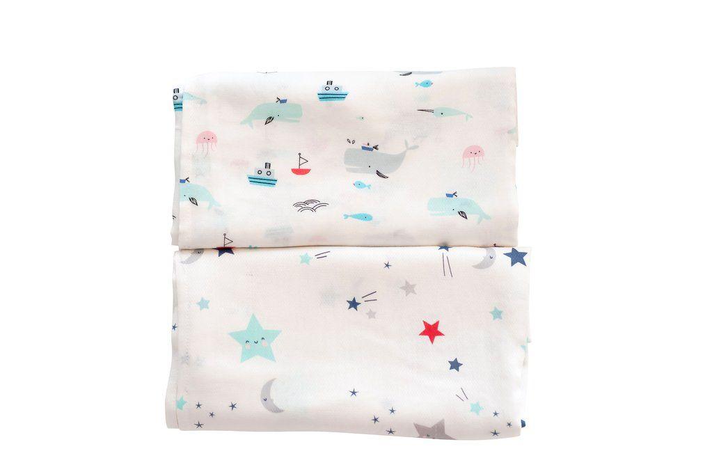 Купить Комплект пеленок TinyTwinkle 120x120 2шт Sea Life+Twinkle Star, Пеленки для новорожденных