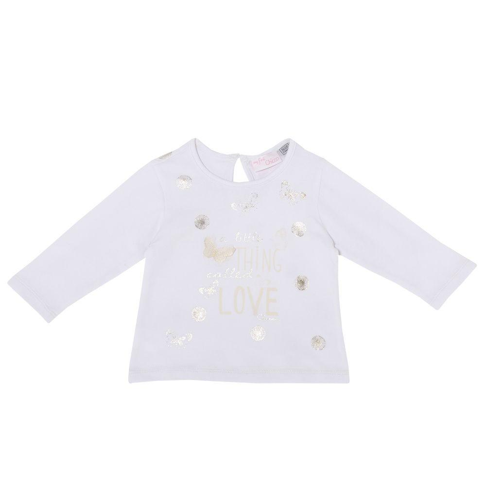 Купить 9061977, Лонгслив детский Chicco р.074 цвет белый, Кофточки, футболки для новорожденных