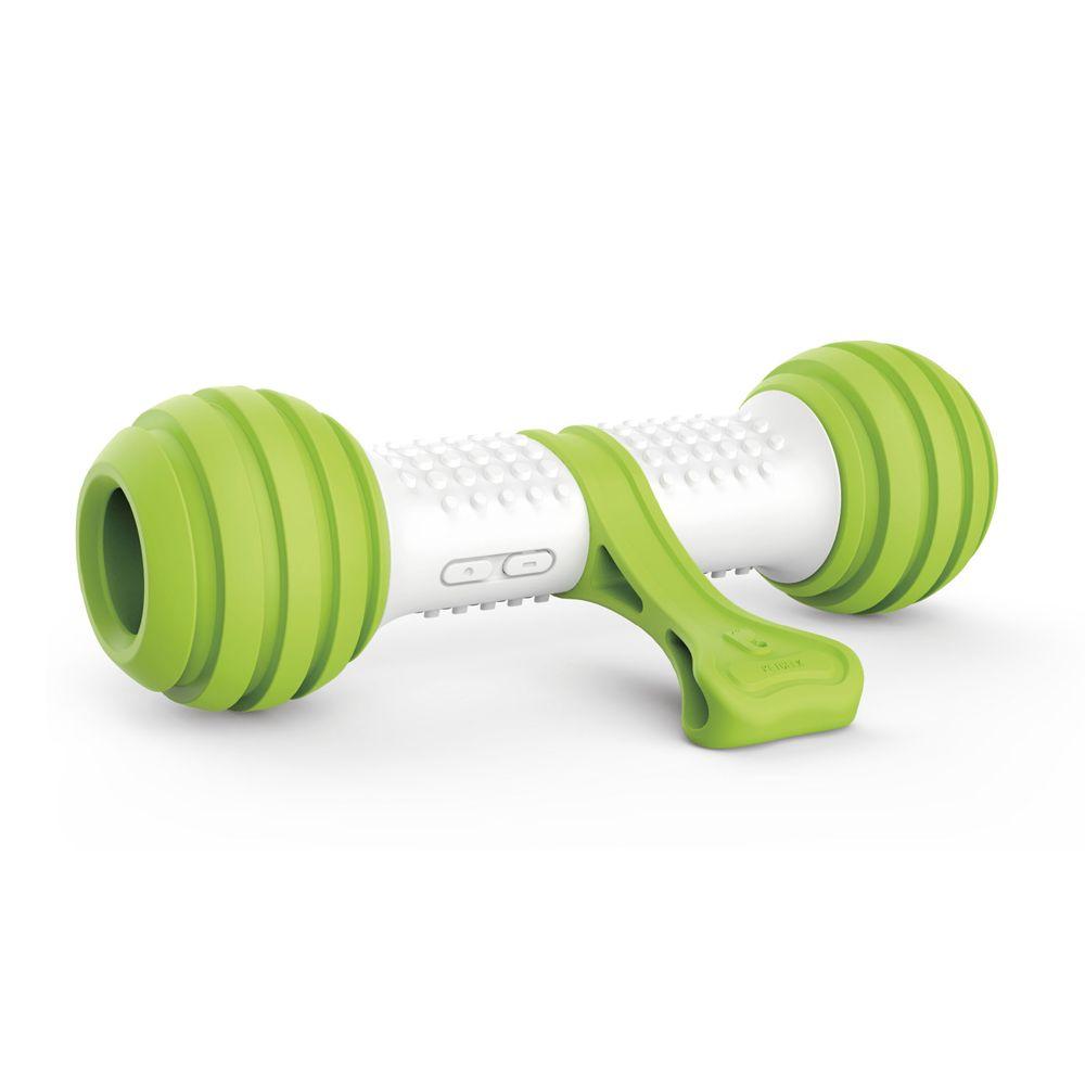 Интерактивная игрушка для собак GiGwi кость, зеленый, белый, длина 21 см