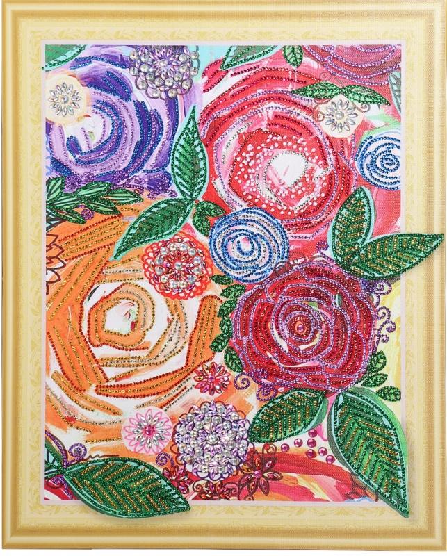 Винтажные цветы-алмазная картина с фигурными стразами