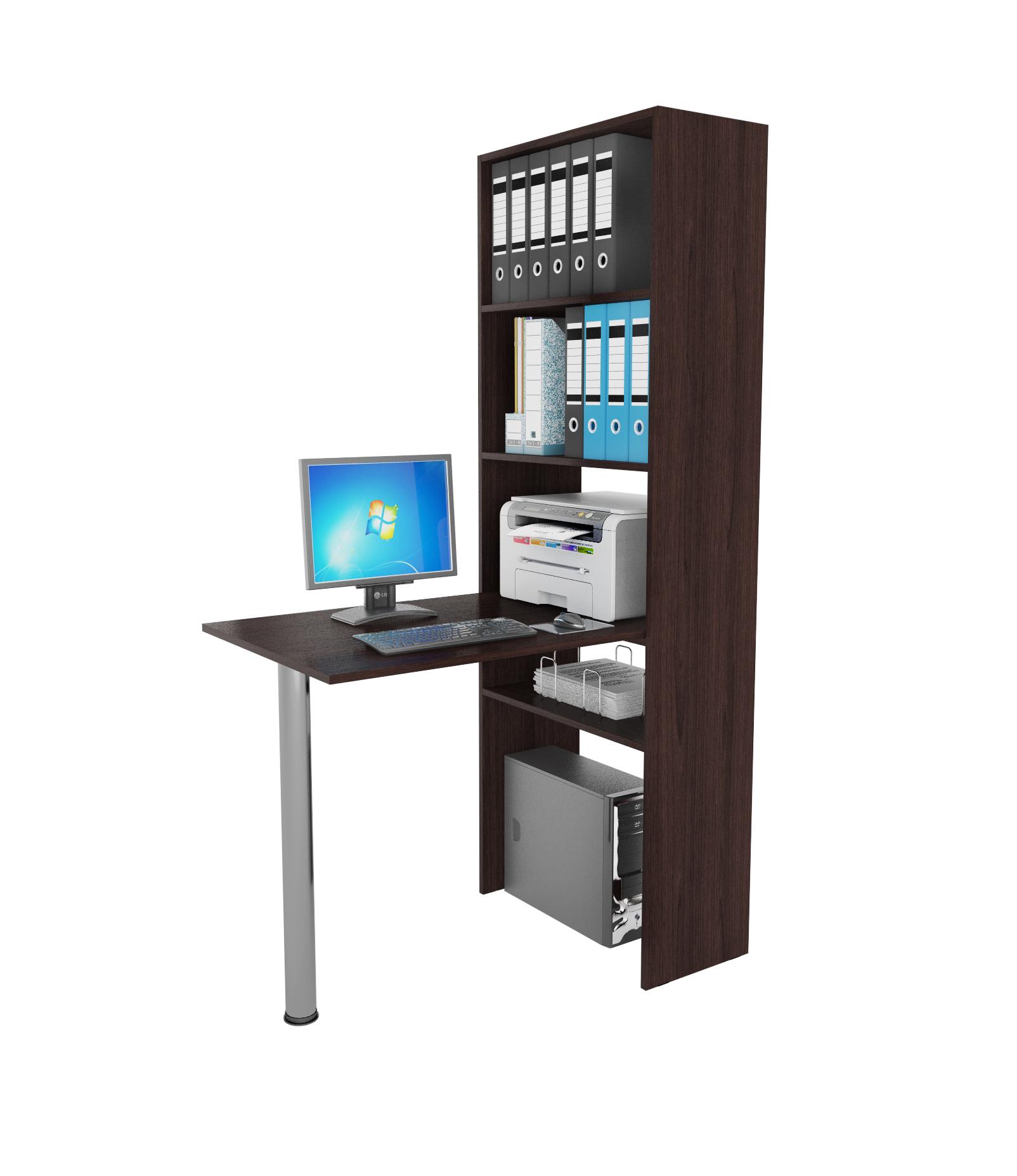 Компьютерный стол в комплекте МФ Мастер Рикс-4+Рикс-6 110x63,2x177, венге/хром