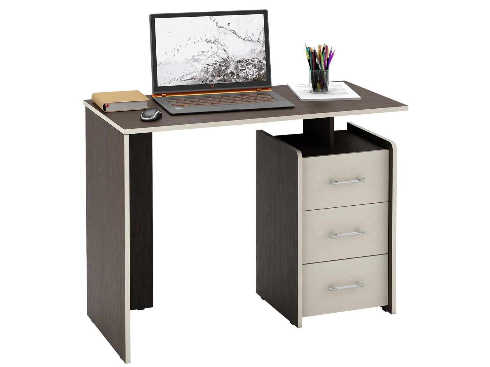 Компьютерный стол МФ Мастер Слим-1 103x50x75, венге/дуб молочный
