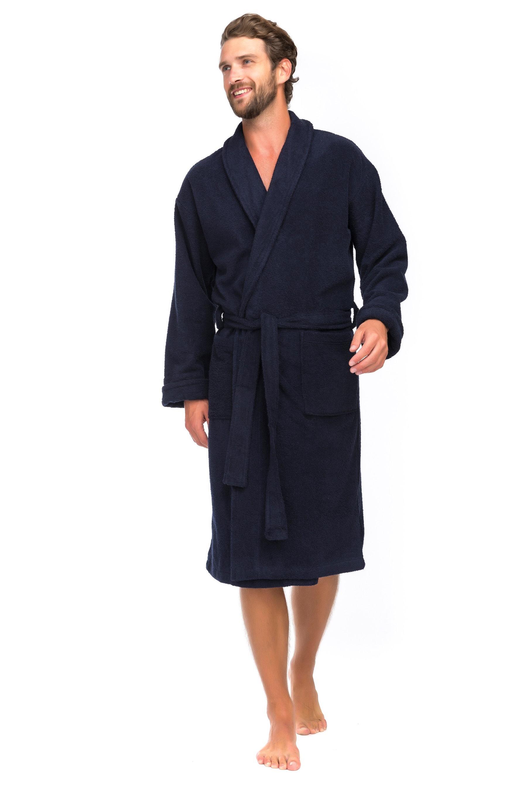 Мужской банный халат Deep Blue ЕvaTeks 363/5, темно-синий, 50-52