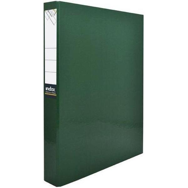 Папка-файл Index на 2 кольцах, лам., Зеленая, диаметр 30мм