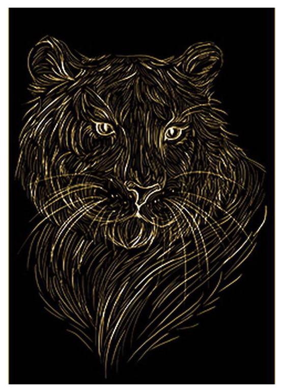 Гравюра Рыжий кот А4 с эффектом золота Красивый тигр
