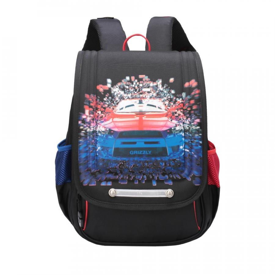 Купить Школьный рюкзак для мальчика Grizzly RA-976-2 черный, Школьные рюкзаки и ранцы