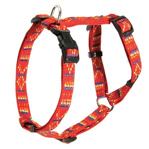 Шлейка Каскад Орнамент регулируемая нейлон красная для собак (15 мм (25/40 см), Красный)