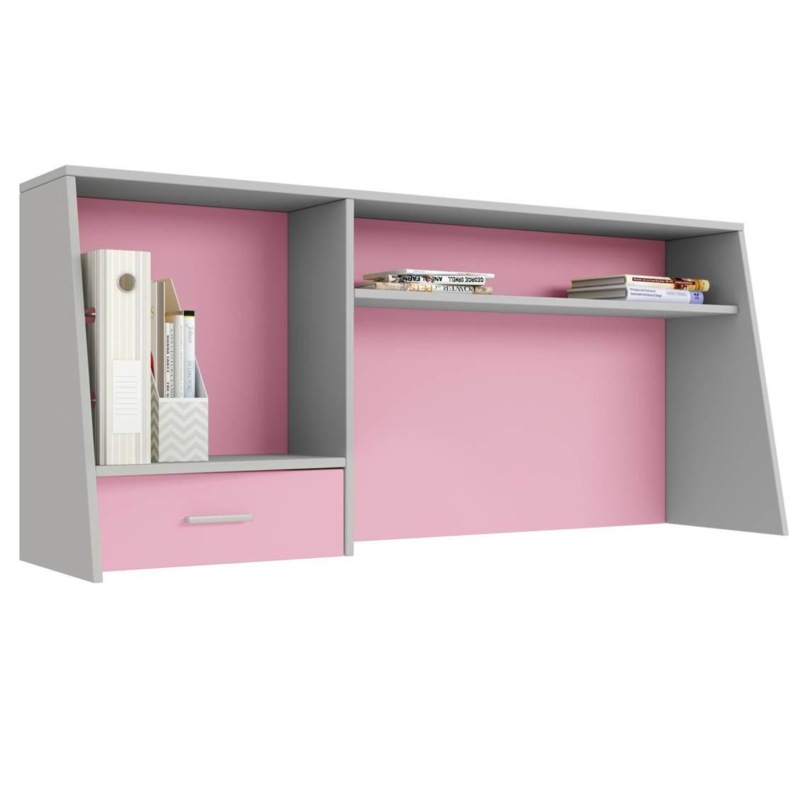Надстройка для cтола Polini kids Aviv 1450 с ящиком и полкой, серый/розовый