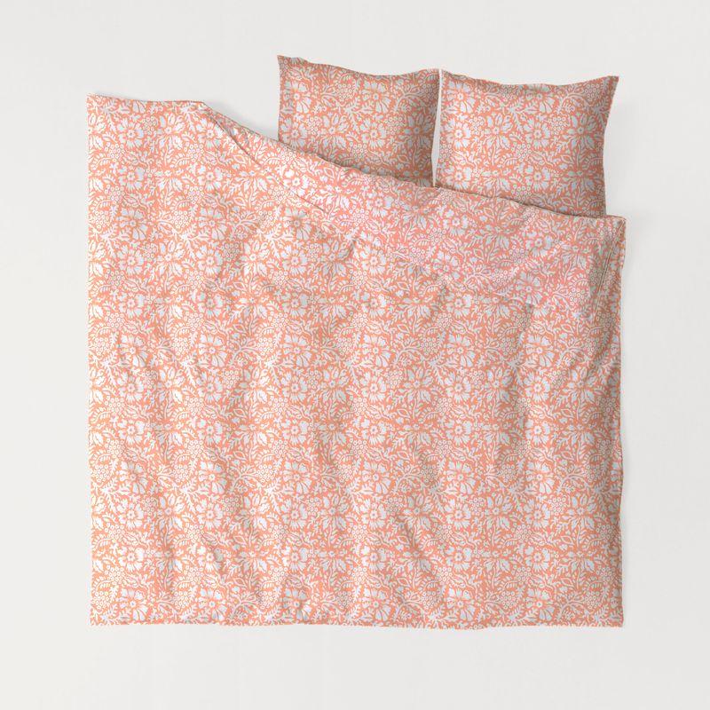 Комплект постельного белья S&J Нуга персиковая двуспальный фото