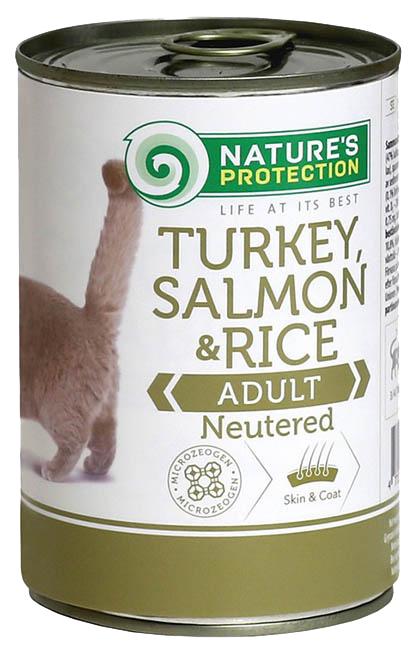 Консервы для кошек Nature's Protection, индейка, лосось, рис, кусочки, 400г фото