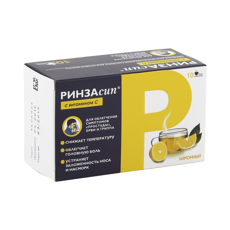 Купить Ринзасип с витамином C порошок 5 г лимонный 10 шт., Unique Pharmaceuticals